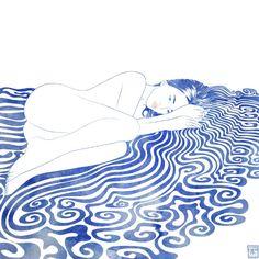 Water Nymph XXVIII Throw Pillow by Stevyn Llewellyn - Cover x with pillow insert - Indoor Inspiration Art, Art Inspo, Illustrations, Illustration Art, Art Sketches, Art Drawings, Tattoo Mermaid, Mermaid Mermaid, Vintage Mermaid