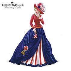 Thomas Kinkade American Pride Victorian Lady Figurine