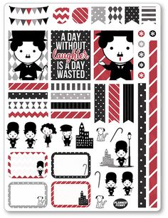 Chaplin Decorating Kit / Weekly Spread Planner Stickers for Erin Condren Planner, Filofax, Plum Paper