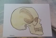 Original Skull Mixed Media Painting Greeting Cards Watercolor Ink Gothic Handmade Unique Goth Impressionistic Fantasy by MBrothertonArt on Etsy