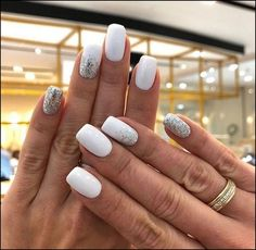 nail art designs for winter * nail art designs . nail art designs for spring . nail art designs for winter . nail art designs with glitter . nail art designs with rhinestones Cute Nail Art Designs, White Nail Designs, Nails Polish, My Nails, White Nail Art, White Nails With Glitter, White Summer Nails, White Shellac Nails, White Short Nails