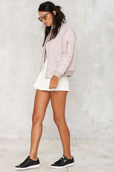 Glamorous Take Games Bomber Jacket - Matte Mauve | Shop Clothes at Nasty Gal!
