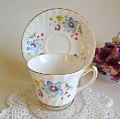 Vintage Sutherland Staffordshire Fine Bone China Teacup and Saucer Tea Cup Set Blue Floral by treasurecoveally on Etsy