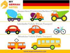 Means of Transport: Das Verkehrsmittel | Learn German Online #mygermannotes #Verkehrsmittel #Transport #Einsatzfahrzeuge #Luftfahrzeuge #Baumaschinen #Individueller #Verkehr ‪#Öffentlicher #Auto #Bus