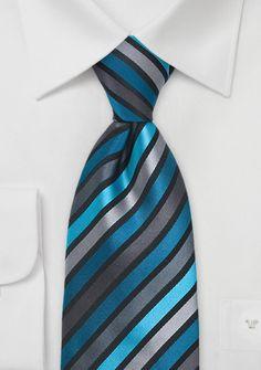 Corbata rayas en turquesa, gris plateado y negro