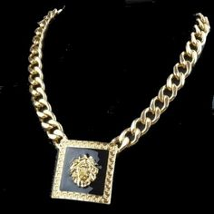 Goldkette Medusa Löwenkopf Gold schwarz 18K plated (3495)Willkommen im  www.Chelsea-Fashion-Glamur.de  Shop Secondhand und Neuware Mode zu günstigen Preisen   Dies und Das für jeden was.....