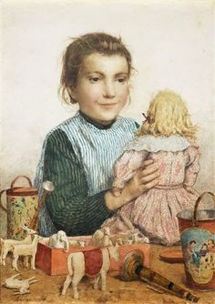 Albert Anker Girl with doll and toys