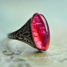 Nosferatu Silver Ring Vintage Dragon's Breath glass by ElvesGarden, $22.00