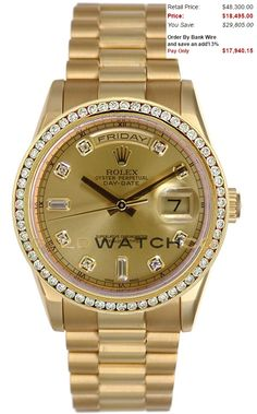 This watch is an Authentic Rolex Mens New Style Heavy Band 18K Yellow Gold President Day Date Model 118238 Solid 18K Yellow Gold President Band with a Custom Added Champagne Diamond Dial & a 1CT Diamond Bezel. The watch is in Mint Day one condition and comes with all box, booklets, tags, and all applicable paperwork.