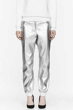 SACAI LUCK Silver Faux-leather Lounge pants