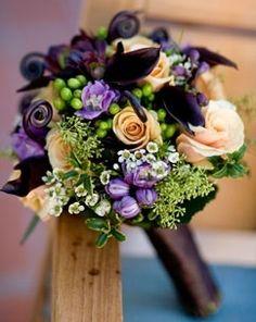 orange purple wedding flowers | Bridal Bouquet. Purple and orange