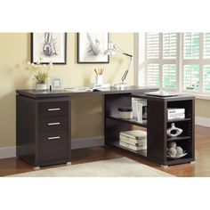 Coaster Furniture Yvette Brown Yvette cappuccino executive desk If you prioritize storage and L Shaped Office Desk, L Shaped Executive Desk, L Shaped Desk, Computer Desk With Hutch, Desk With Drawers, Home Office Desks, Office Furniture, Furniture Dolly, Urban Furniture