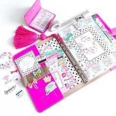 Inside of my A5 Filofax Original using the September kit from @theplannersociety  by hautepinkfluff