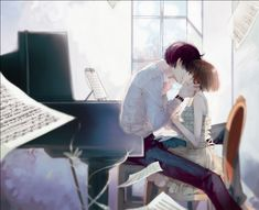 anime boy and anime girl in music room kissing