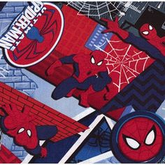 Ultimate Spiderman Grey Cotton Fabric