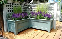 Bespoke, Traditional Wooden Planter Boxes - Essex UK, The Garden Trellis Company Plants For Planters, Balcony Planters, Garden Planter Boxes, Wooden Garden Planters, Diy Planters, Planter Box With Trellis, Diy Garden, Garden Trellis, Lawn And Garden