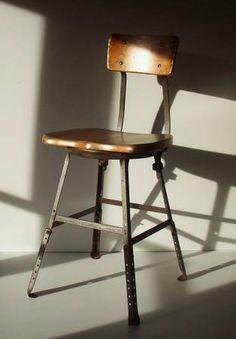 Vintage Metal + Wood Drafting Chair / Stool __ Industrial Stool