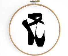 Ballet Shoe Cross Stitch Pattern by Crosslings on Etsy