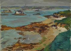 """Lucien Victor Delpy (1898-1967), """"Plage de Carantec"""",  gouache"""