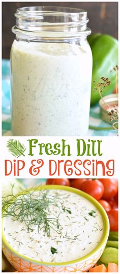 This easy, fresh Dill Dip and salad dressing is so easy and yummy that you can skip buying store bought dips and make this at home! The only problem is that you might not be able to get your kids to eat their veggies without it! (food and drink dips) Dill Dip Recipes, Herb Recipes, Fresh Dill Dip Recipe, Avocado Recipes, Easy Recipes, Dill Dressing, Salad Dressing Recipes, Salad Dressings, Appetizer Dips