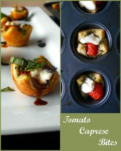 A super fun way to make Tomato Caprese. Use Puff Pastry and mini muffin pans.