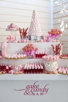 Pink and white modern wedding dessert table - so chic