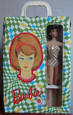 Rare Vintage American Girl Barbie CAse with original Swirl Barbie in Fashion Queen swimsuit....a beauty from the collection of Gene Foote.