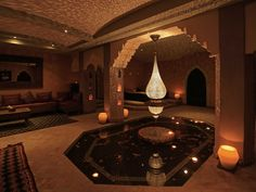 Our stunning handcrafted Moroccan teardrop pendant in a Luxury spa. Measures up to 6 feet in height and 2 feet in diameter.