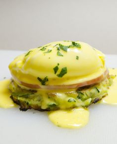 Eggs Benedict with Zucchini Pancakes (easy hollandaise sauce