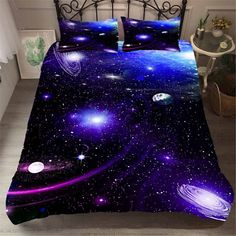Awesome 36 Comfy Bedroom Design Ideas With Galaxy Themes For Your Kids Room Ideas Bedroom, Bedroom Themes, Bedroom Decor, Galaxy Bedroom Ideas, Galaxy Decor, Galaxy Theme, Dream Rooms, Dream Bedroom, Galaxy Bedding