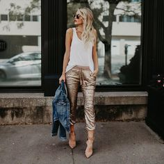 Gold Sequin Pants Drawstring Elastic Waist Cropped Joggers For Women - Milanoo. Gold Sequin Pants, Gold Pants, Mode Outfits, Casual Outfits, Fashion Outfits, Fashion Ideas, Casual Wear, Fashion Pants, Fashion Clothes