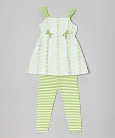A.B.S. by Allen Schwartz Lime & White Tunic & Stripe Leggings - Infant, Toddler & Girls by A.B.S. by Allen Schwartz #zulily #zulilyfinds