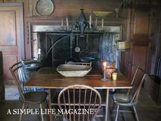 A Simple Life Magazine - cozy, country kitchen Primitive Fireplace, Primitive Living Room, Primitive Kitchen, Primitive Furniture, Fireplace Mantels, Rustic Kitchen, Primitive Decor, Primitive Homes, Primitive Country