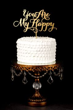 Wedding Cake Topper - You are my happy - Gold