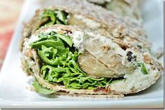 eggplant and arugula wraps with tomato basil cashew cheese- vegan