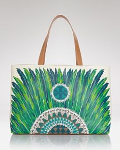 Showcasing a bold feather print in vivid jewel-tone colors, the Kerrington Tote is a bright, bohemian statement-maker!  @ToryBurch  #ViewTry