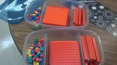 organization for math manipulatives...use divided ziploc containers