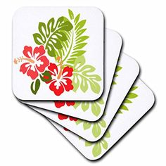 3dRose cst_41559_1 Hawaiian Hibiscus N Leaves Print Soft Coasters Set of 4 >>> You can find more details by visiting the image link. (This is an affiliate link) #FurnitureBarCoasters