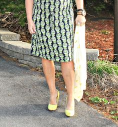 Pineapple Dress and Cardigan with a yellow pump, and a yosa necklace #yellow #shoedazzle