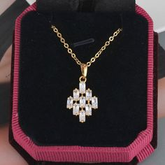 45.5cm Rhombus Pendant Inlay Rectangle Zircon 18K Gold Plated Copper Necklace