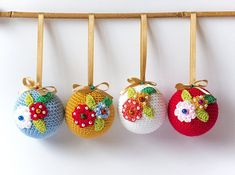 4 Crochet Christmas Christmas baubles. Crochet by CatANeedle