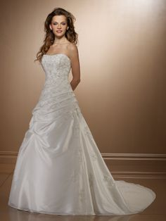 A-line Sweetheart Taffeta Court Train Embroidery Wedding Dresses at Msdressy --- Pretty!!