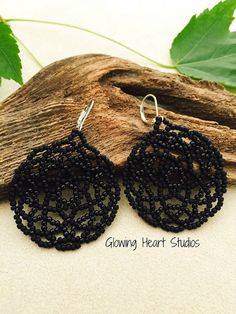 Midnight Raven Mandala earrings black by GlowingHeartStudios