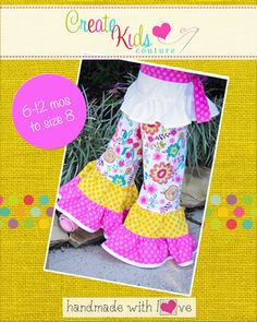 This full and ruffly little capris and pants is that perfect boutique addition to any spring, summer, or fall outfit! These amazingly full, and fun ruffles and sweet bias trim can be worn with any number of tops and dresses here at CKC! Use cotton, denims, courduroy or linens and let your imagination take you away!