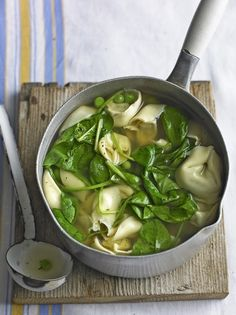 Enjoy this flavoursome and warming spinach and tortellini soup recipe made with chicken or vegetable stock online at Jamie Oliver today.