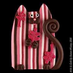 """Pink & Brown Striped Kitty Cat & Pink Autumn Leaves Pin - SWris in Collectibles, Animals, Cats 