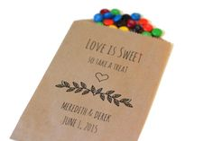 25 Love is Sweet Treat Bags - Formal Custom Wedding Favors - Brown Kraft Paper Bags - Candy Bar Buffet Bags - Names & Date - enjoy some candy from joe and Andee