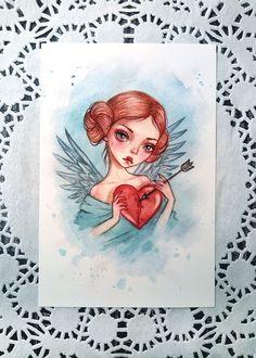 Black Fury — Watercolor valentines in my Etsy...