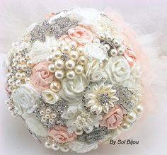 Brooch Bouquet Pearl Bouquet Bridal Bouquet in Blush by SolBijou