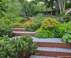 A steep, sloping site is transformed with layers of cascading plants and Corten steel Sloped Backyard Landscaping, Landscaping On A Hill, Sloped Yard, Landscaping Retaining Walls, Backyard Garden Design, Garden Landscape Design, Steep Hillside Landscaping, Sloping Backyard, Steep Backyard